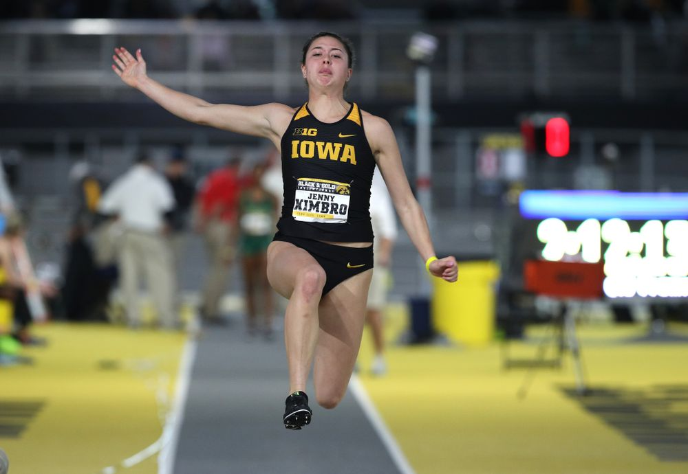 Iowa's Jenny Kimbro competes in the long jump during the Black and Gold Premier meet Saturday, January 26, 2019 at the Recreation Building. (Brian Ray/hawkeyesports.com)