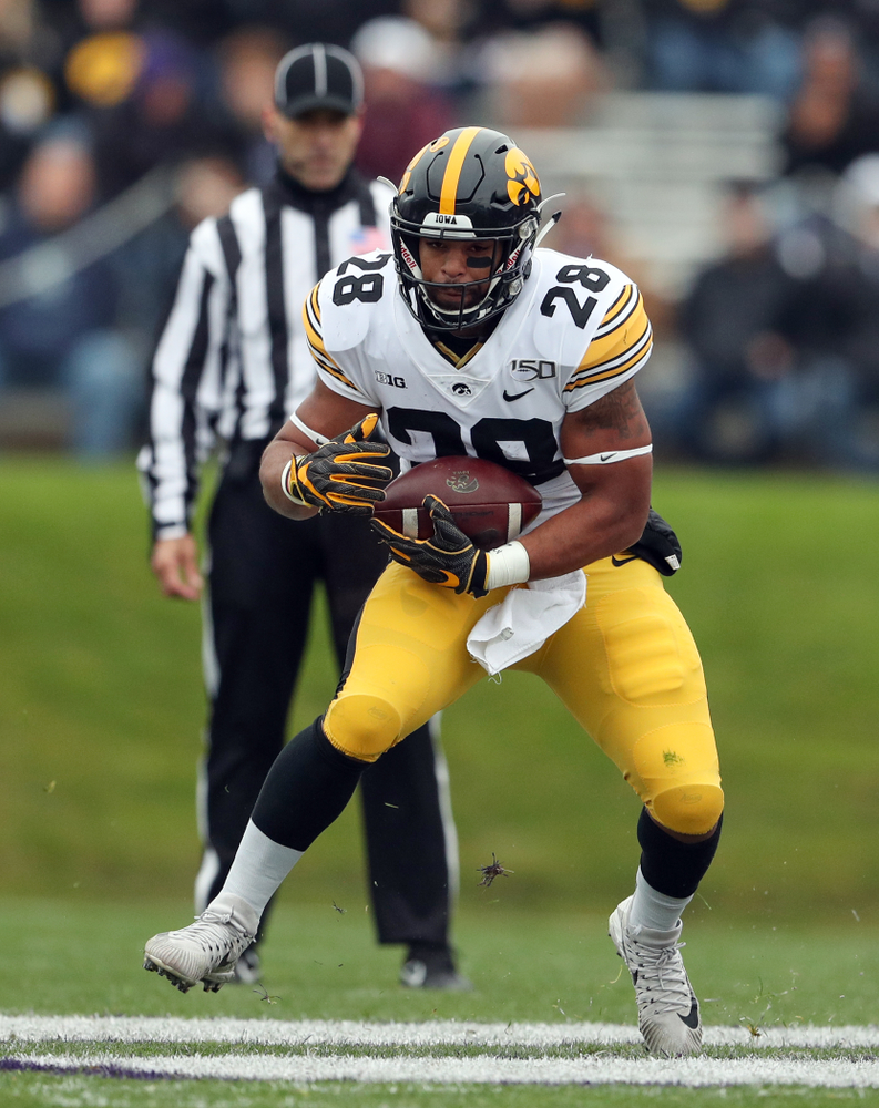 Iowa Hawkeyes running back Toren Young (28) against the Northwestern Wildcats Saturday, October 26, 2019 at Ryan Field in Evanston, Ill. (Brian Ray/hawkeyesports.com)