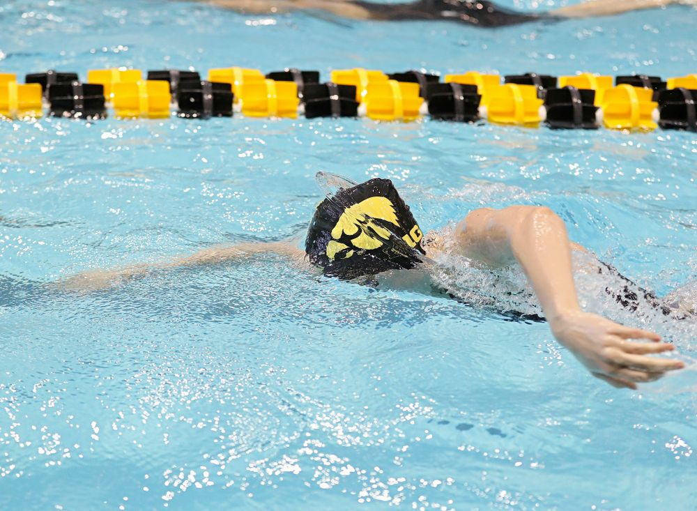 Iowa's Macy Rink swims in the women's 100 yard freestyle preliminary event during the 2020 Women's Big Ten Swimming and Diving Championships at the Campus Recreation and Wellness Center in Iowa City on Saturday, February 22, 2020. (Stephen Mally/hawkeyesports.com)