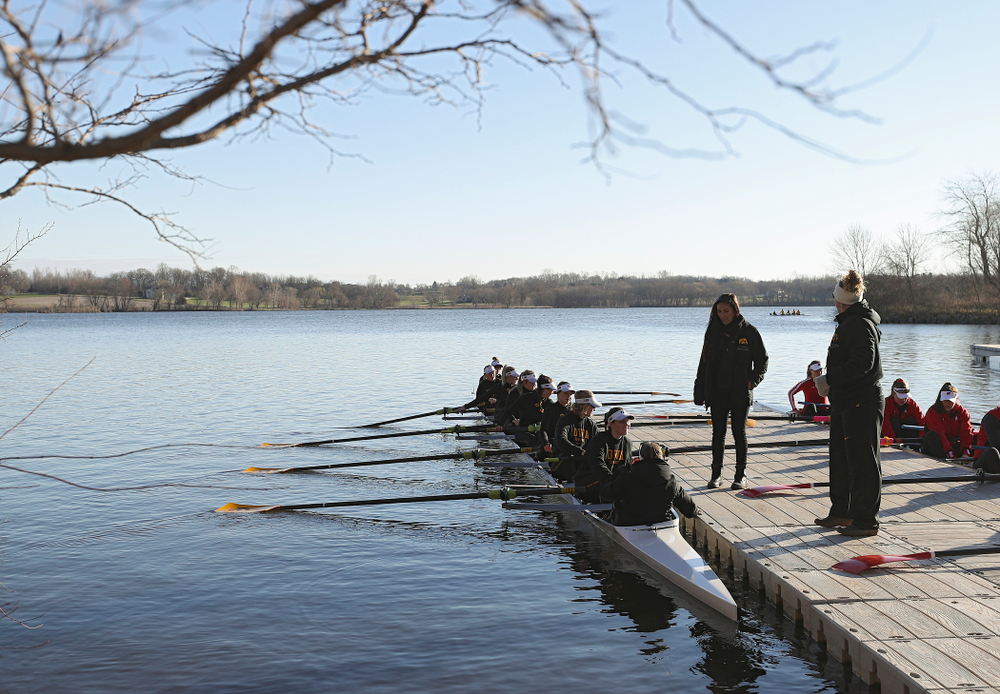 Iowa's II Novice 8 team prepares to leave the dock before race against Wisconsin in their Big Ten Double Dual Rowing Regatta at Lake Macbride in Solon on Saturday, Apr. 13, 2019. (Stephen Mally/hawkeyesports.com)