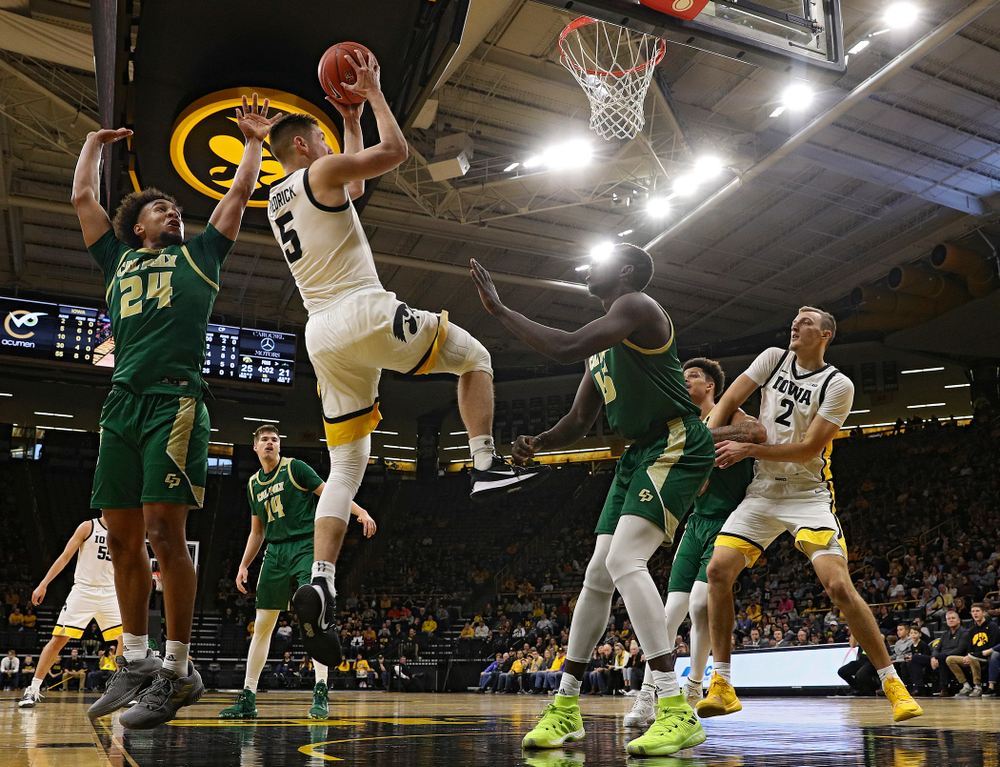 Iowa Hawkeyes guard CJ Fredrick (5) makes a basket during the first half of their game at Carver-Hawkeye Arena in Iowa City on Sunday, Nov 24, 2019. (Stephen Mally/hawkeyesports.com)