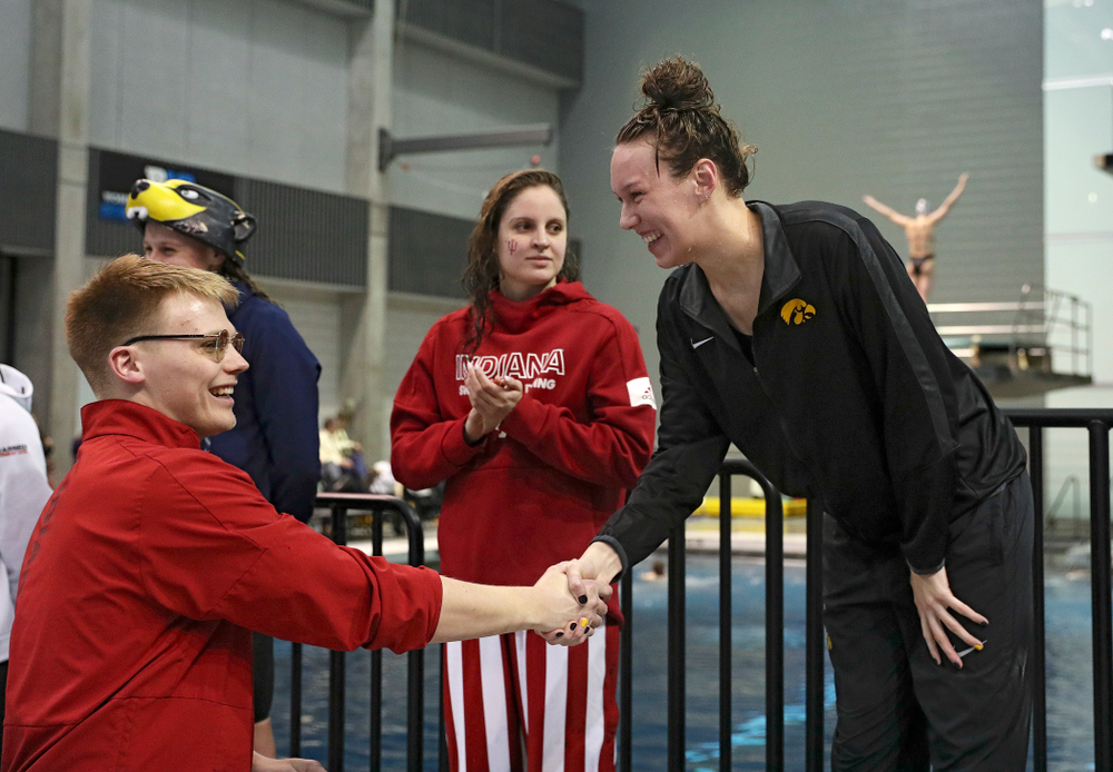 Iowa's Allyssa Fluit on the awards stand after swimming the women's 200 yard freestyle final event during the 2020 Women's Big Ten Swimming and Diving Championships at the Campus Recreation and Wellness Center in Iowa City on Friday, February 21, 2020. (Stephen Mally/hawkeyesports.com)