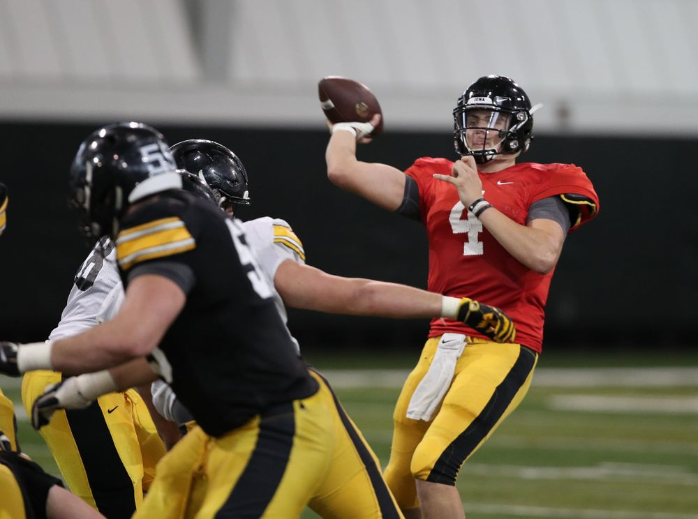 Iowa Hawkeyes quarterback Nate Stanley (4) during preparation for the 2019 Outback Bowl Wednesday, December 19, 2018 at the Hansen Football Performance Center. (Brian Ray/hawkeyesports.com)