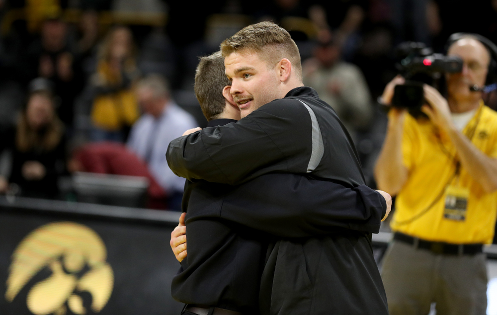 Iowa's Sam Cook during senior day activities Sunday, February 23, 2020 at Carver-Hawkeye Arena. (Brian Ray/hawkeyesports.com)