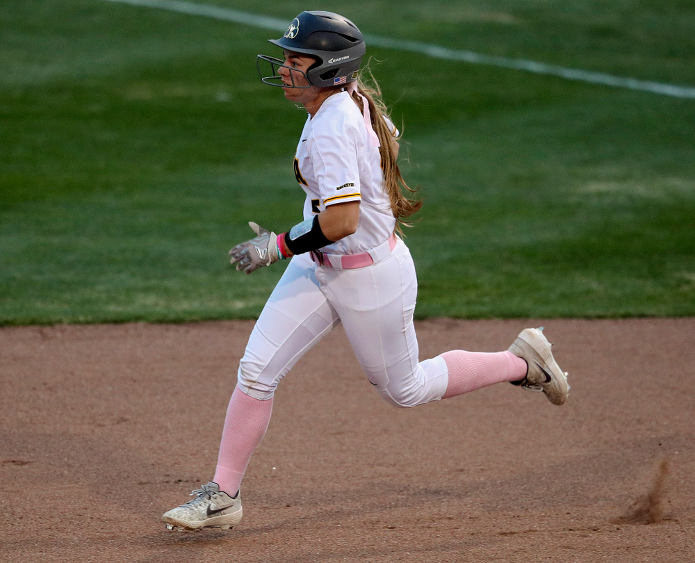Iowa shortstop Sydney Owens (5) runs to second base after hitting a double during the fifth inning of their game against Iowa State at Pearl Field in Iowa City on Tuesday, Apr. 9, 2019. (Stephen Mally/hawkeyesports.com)