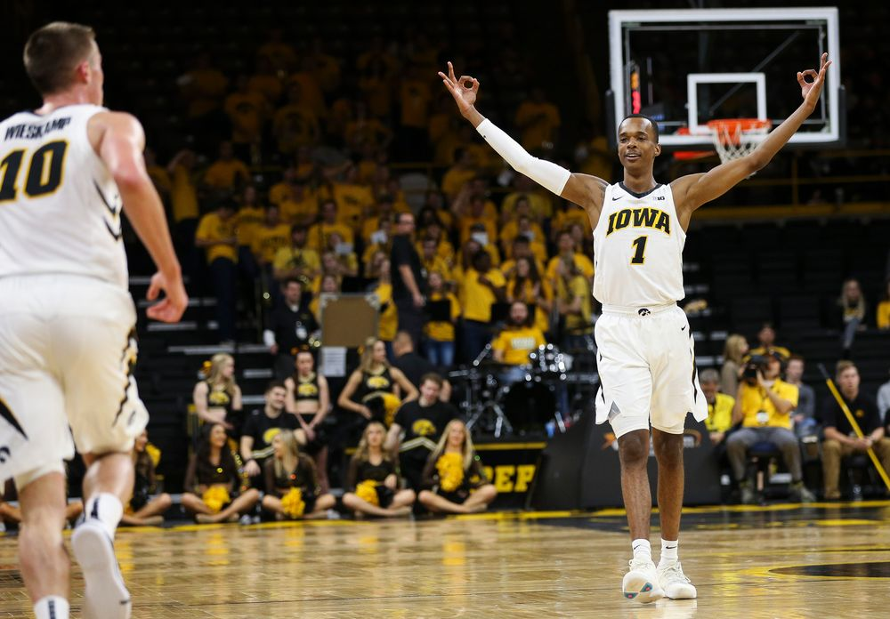 Iowa Hawkeyes guard Maishe Dailey (1) reacts after Iowa Hawkeyes guard Joe Wieskamp (10) hits a 3-pointer during a game against Guilford College at Carver-Hawkeye Arena on November 4, 2018. (Tork Mason/hawkeyesports.com)