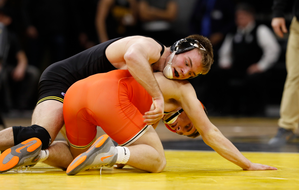 Iowa's Brandon Sorensen Wrestles Oklahoma State's Boo Lewallen at 149 pounds