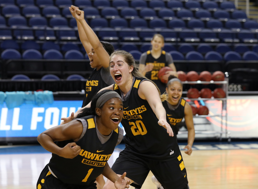 Iowa Hawkeyes guard Kate Martin (20) and guard Tomi Taiwo (1) during media and practice as they prepare for their Sweet 16 matchup against NC State Friday, March 29, 2019 at the Greensboro Coliseum in Greensboro, NC.(Brian Ray/hawkeyesports.com)
