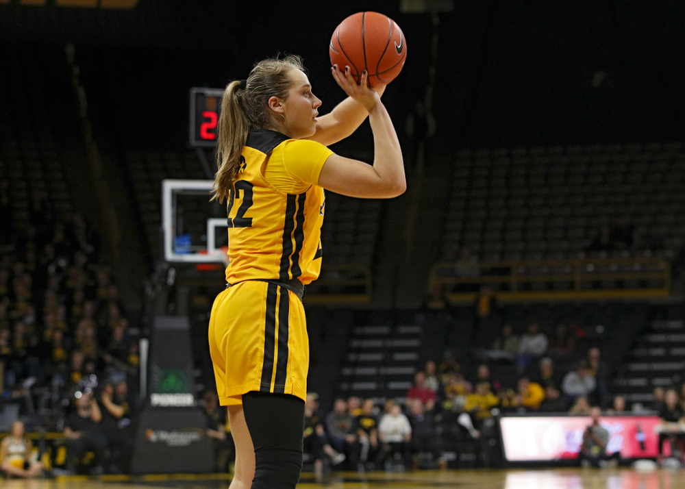 Iowa Hawkeyes guard Kathleen Doyle (22) puts up a shot during the fourth quarter of their game at Carver-Hawkeye Arena in Iowa City on Thursday, January 23, 2020. (Stephen Mally/hawkeyesports.com)