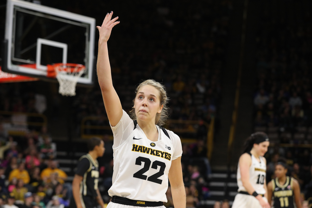 Iowa Hawkeyes guard Kathleen Doyle (22) celebrates their win against the Purdue Boilermakers Sunday, January 27, 2019 at Carver-Hawkeye Arena. (Brian Ray/hawkeyesports.com)