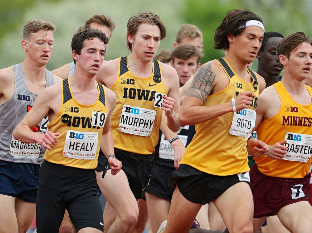 Iowa's Noah Healy (from left), Daniel Murphy, and Daniel Soto run the men's 5000 meter event on the third day of the Big Ten Outdoor Track and Field Championships at Francis X. Cretzmeyer Track in Iowa City on Sunday, May. 12, 2019. (Stephen Mally/hawkeyesports.com)