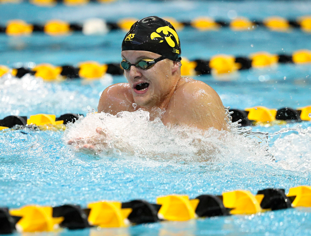 Iowa's Will Myhre swims the breaststroke section of the men's 200-yard medley relay event during their meet against Michigan State and Northern Iowa at the Campus Recreation and Wellness Center in Iowa City on Friday, Oct 4, 2019. (Stephen Mally/hawkeyesports.com)