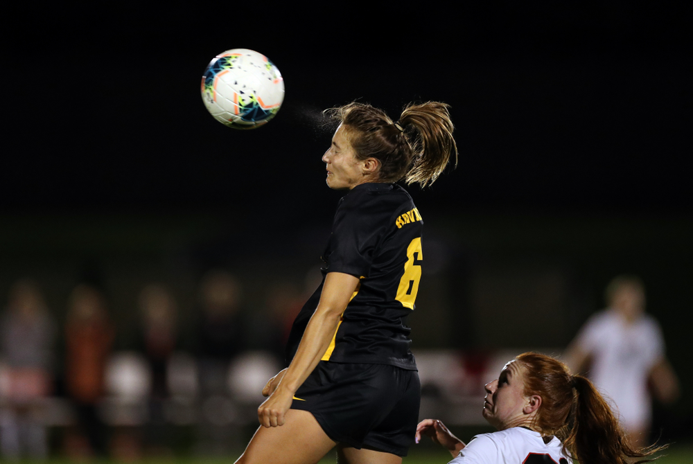 Iowa Hawkeyes midfielder Isabella Blackman (6) against the Nebraska Cornhuskers Thursday, October 3, 2019 at the Iowa Soccer Complex. (Brian Ray/hawkeyesports.com)