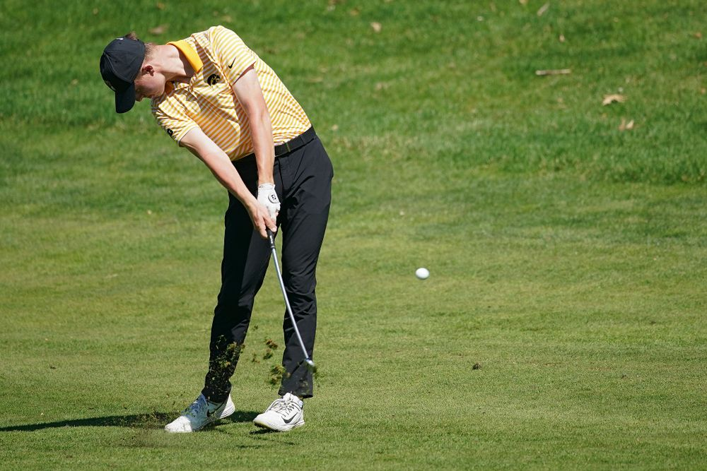 Iowa's Benton Weinberg hits from the fairway during the third round of the Hawkeye Invitational at Finkbine Golf Course in Iowa City on Sunday, Apr. 21, 2019. (Stephen Mally/hawkeyesports.com)