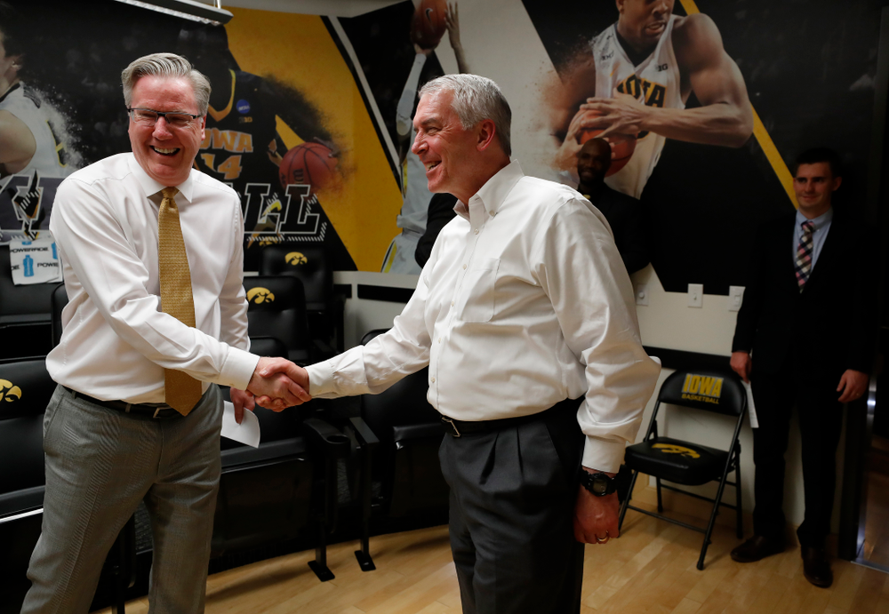 Iowa Hawkeyes head coach Fran McCaffery and Athletics Director Gary Barta