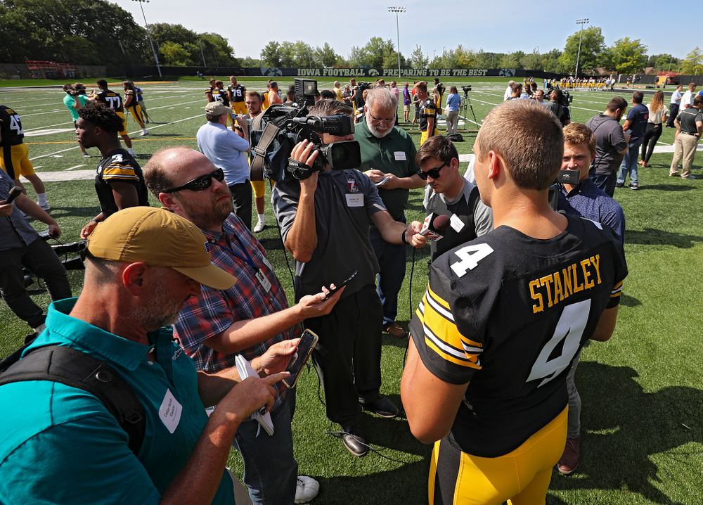 Iowa Hawkeyes quarterback Nate Stanley (4) answers questions during Iowa Football Media Day at the Hansen Football Performance Center in Iowa City on Friday, Aug 9, 2019. (Stephen Mally/hawkeyesports.com)