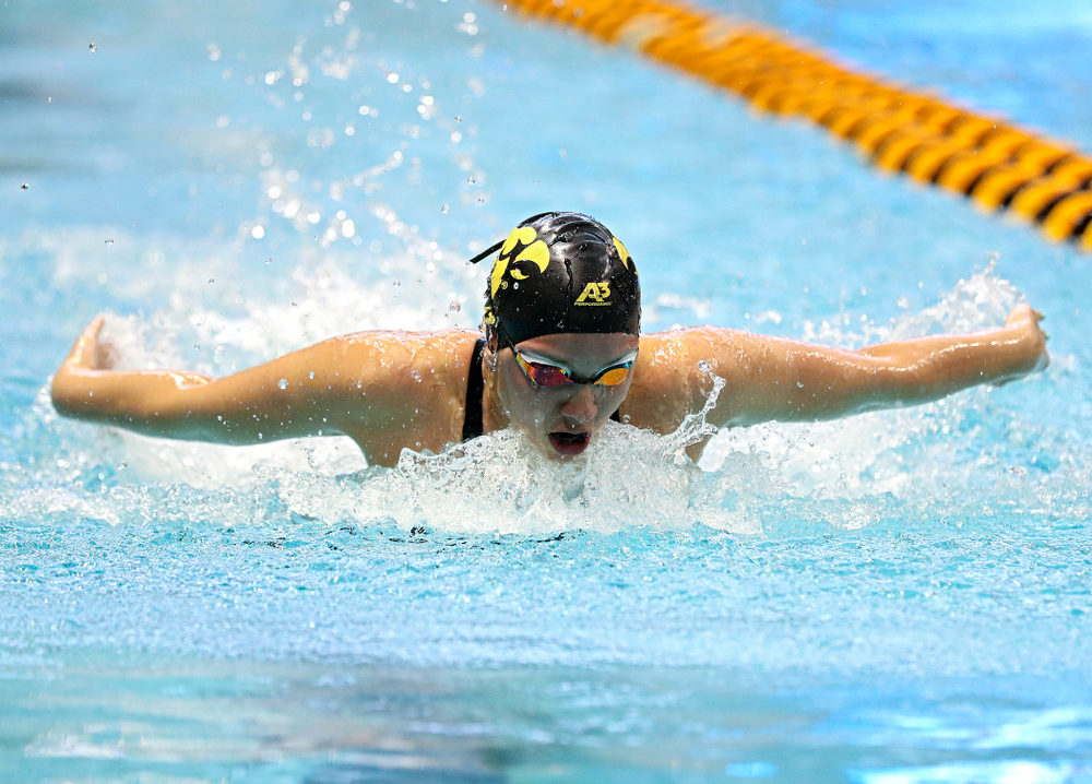 Iowa's Christina Kaufman swims in the women's 200 yard butterfly preliminary event during the 2020 Women's Big Ten Swimming and Diving Championships at the Campus Recreation and Wellness Center in Iowa City on Saturday, February 22, 2020. (Stephen Mally/hawkeyesports.com)