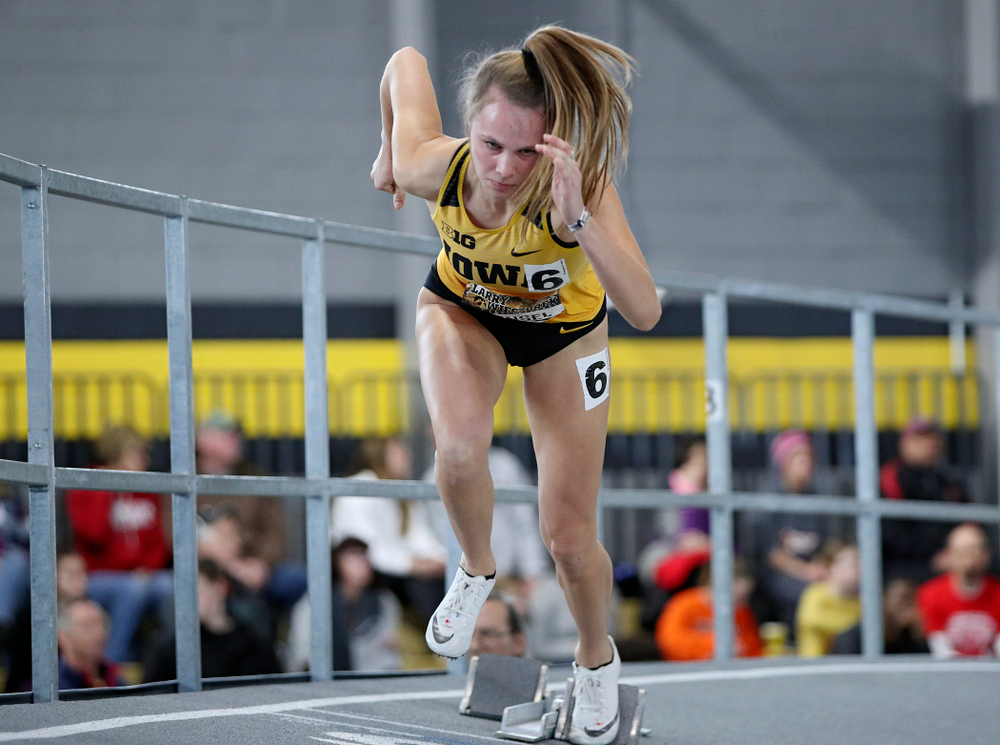 Iowa's Payton Wensel runs the women's 400 meter dash event during the Larry Wieczorek Invitational at the Recreation Building in Iowa City on Saturday, January 18, 2020. (Stephen Mally/hawkeyesports.com)