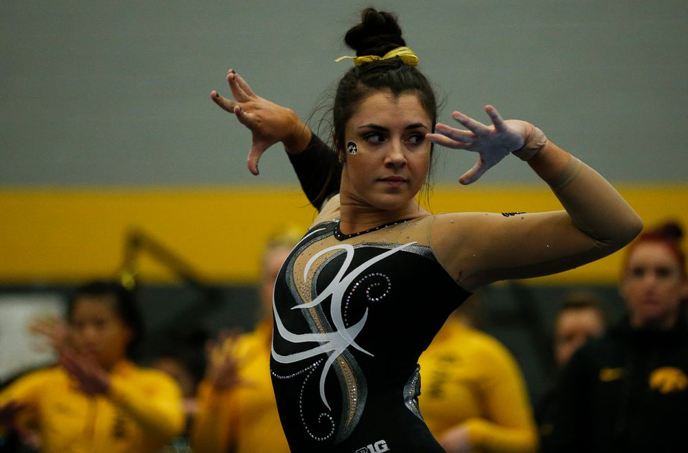 Nikki Youd competes in the floor exercise during the Black and Gold Intrasquad meet at the Field House on 12/2/17. (Tork Mason/hawkeyesports.com)