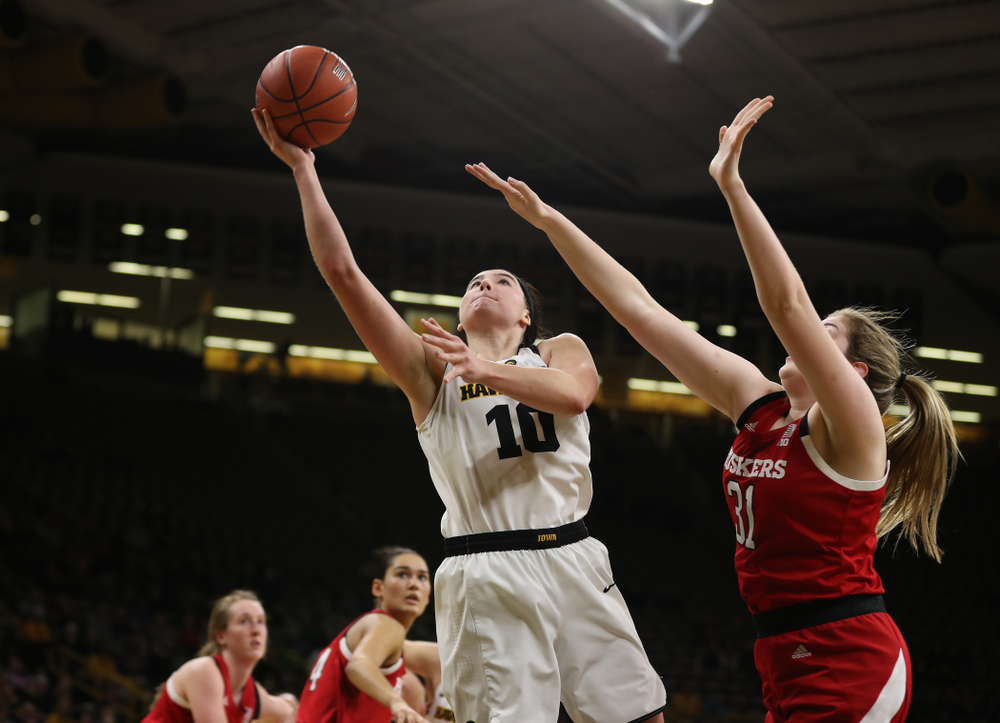 Iowa Hawkeyes forward Megan Gustafson (10) against the Nebraska Cornhuskers Thursday, January 3, 2019 at Carver-Hawkeye Arena. (Brian Ray/hawkeyesports.com)