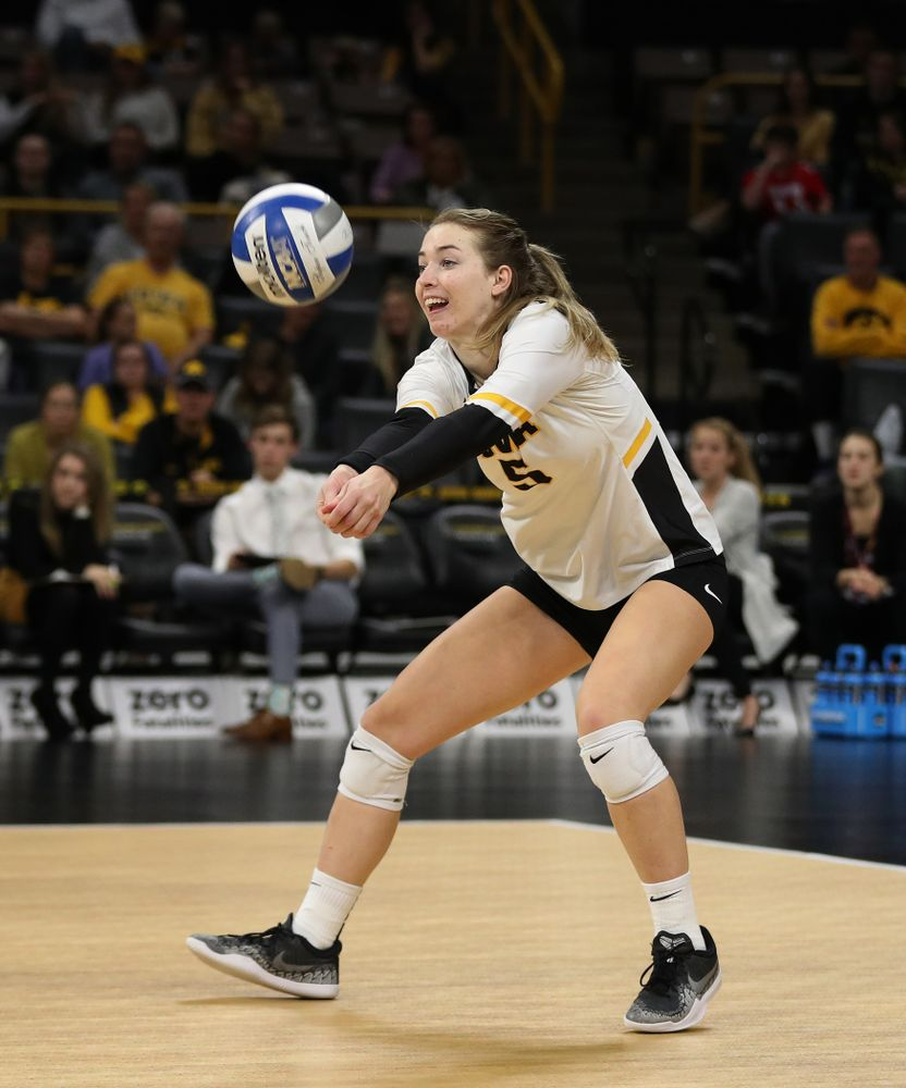 Iowa Hawkeyes outside hitter Meghan Buzzerio (5) against the Ohio State Buckeyes Saturday, November 24, 2018 at Carver-Hawkeye Arena. (Brian Ray/hawkeyesports.com)