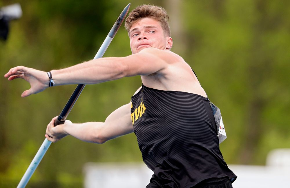Iowa's Peyton Haack throws in the men's javelin in the decathlon event on the second day of the Big Ten Outdoor Track and Field Championships at Francis X. Cretzmeyer Track in Iowa City on Saturday, May. 11, 2019. (Stephen Mally/hawkeyesports.com)