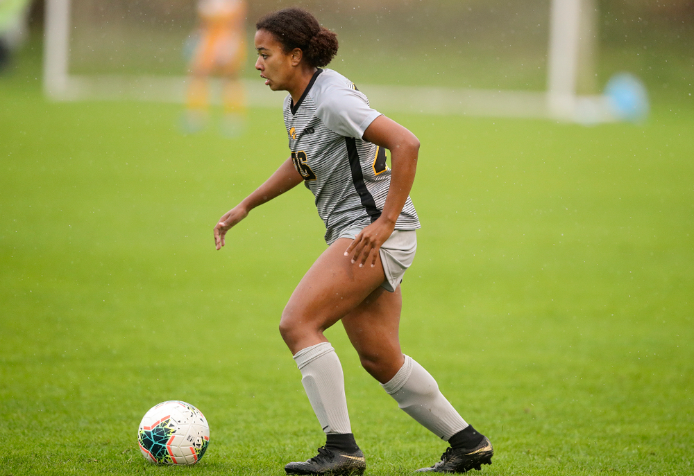 Iowa midfielder/forward Melina Hegelheimer (26) looks to pass during the second half of their match at the Iowa Soccer Complex in Iowa City on Sunday, Sep 29, 2019. (Stephen Mally/hawkeyesports.com)