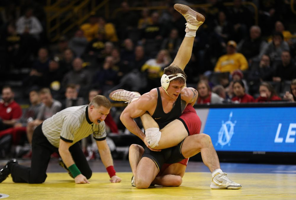 Iowa's Cash Wilcke wrestles Indiana's Norman Conley at 184 pounds Friday, February 15, 2019 at Carver-Hawkeye Arena. (Brian Ray/hawkeyesports.com)