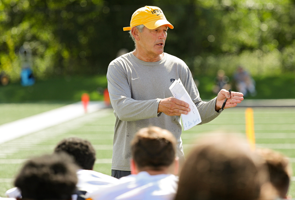 Iowa Hawkeyes head coach Kirk Ferentz talks with the team during Fall Camp Practice No. 13 at the Hansen Football Performance Center in Iowa City on Friday, Aug 16, 2019. (Stephen Mally/hawkeyesports.com)