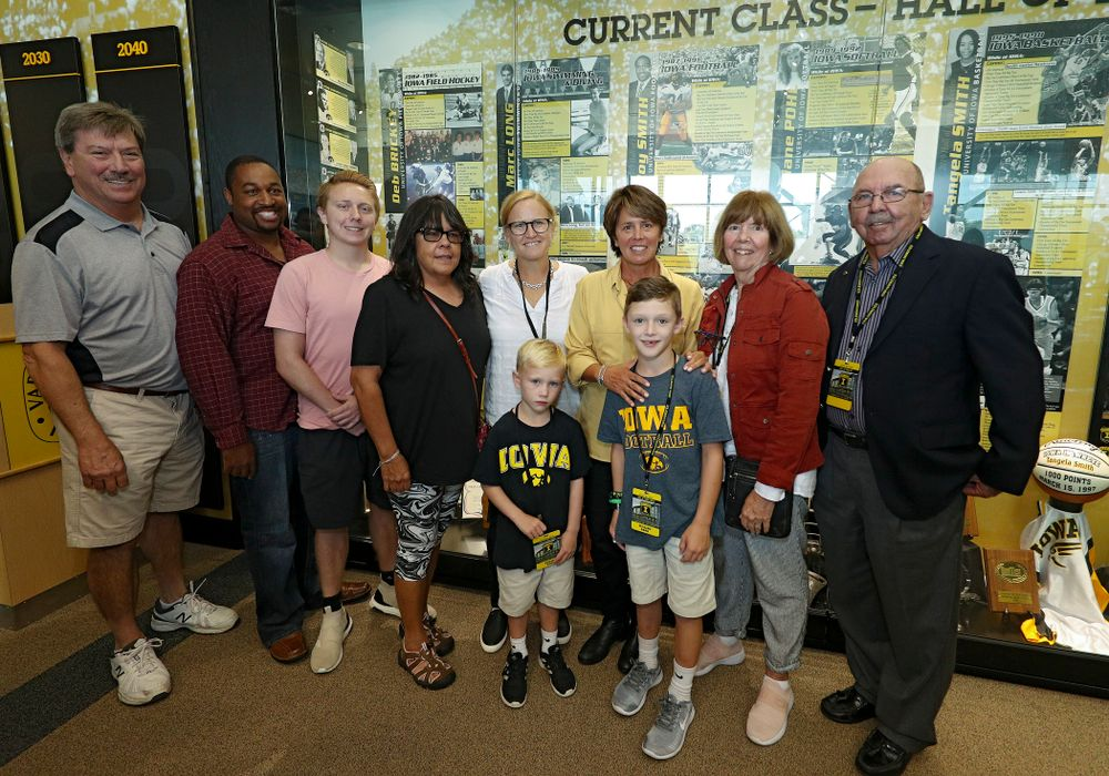 2019 University of Iowa Athletics Hall of Fame inductee Deb Brinckey with her family at the University of Iowa Athletics Hall of Fame in Iowa City on Friday, Aug 30, 2019. (Stephen Mally/hawkeyesports.com)