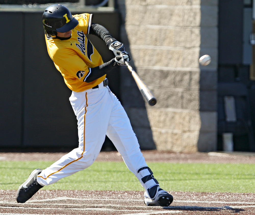 Iowa Hawkeyes shortstop Tanner Wetrich (16) bats during the sixth inning against Illinois at Duane Banks Field in Iowa City on Sunday, Mar. 31, 2019. (Stephen Mally/hawkeyesports.com)