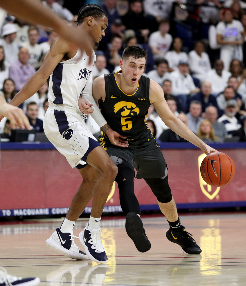 Iowa Hawkeyes guard CJ Fredrick (5) against Penn State Saturday, January 4, 2020 at the Palestra in Philadelphia. (Brian Ray/hawkeyesports.com)