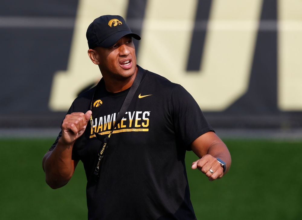 Iowa Hawkeyes special teams coordinator LeVar Woods during camp practice No. 16 Tuesday, August 21, 2018 at the Hansen Football Performance Center. (Brian Ray/hawkeyesports.com)