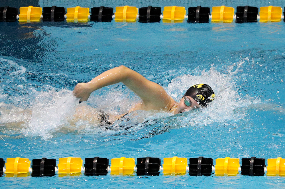 Iowa's Payton Lange swims the women's 200-yard freestyle event during their meet against Michigan State and Northern Iowa at the Campus Recreation and Wellness Center in Iowa City on Friday, Oct 4, 2019. (Stephen Mally/hawkeyesports.com)