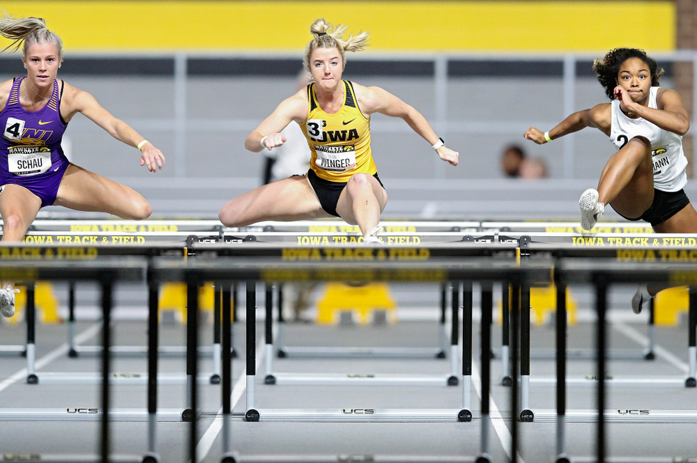 Iowa's Sydney Winger runs in the women's 60 meter hurdles prelim event during the Hawkeye Invitational at the Recreation Building in Iowa City on Saturday, January 11, 2020. (Stephen Mally/hawkeyesports.com)