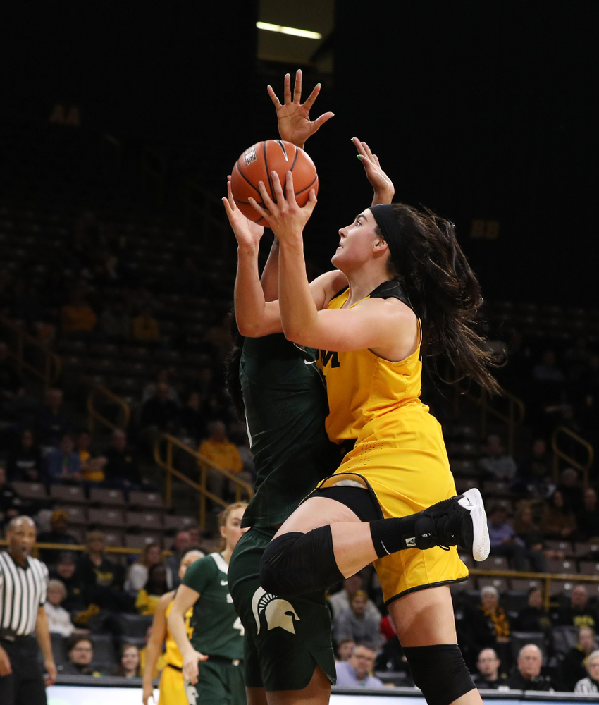 Iowa Hawkeyes forward Megan Gustafson (10) against the Michigan State Spartans Thursday, February 7, 2019 at Carver-Hawkeye Arena. (Brian Ray/hawkeyesports.com)