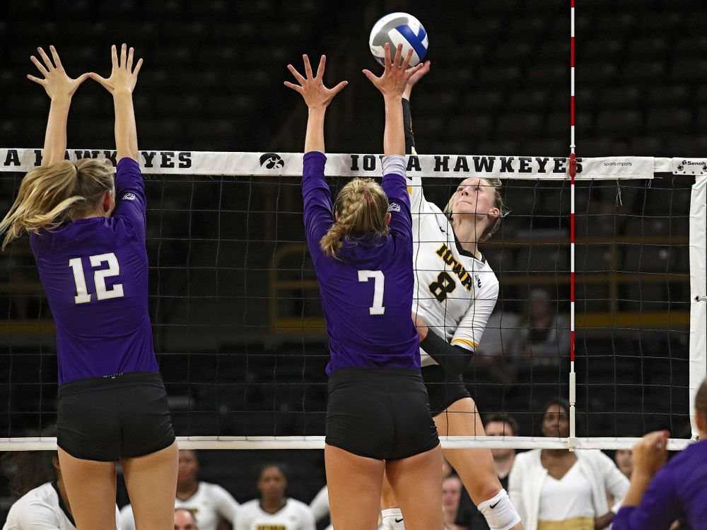 Iowa's Kyndra Hansen (8) goes up for a kill during their Big Ten/Pac-12 Challenge match at Carver-Hawkeye Arena in Iowa City on Saturday, Sep 7, 2019. (Stephen Mally/hawkeyesports.com)