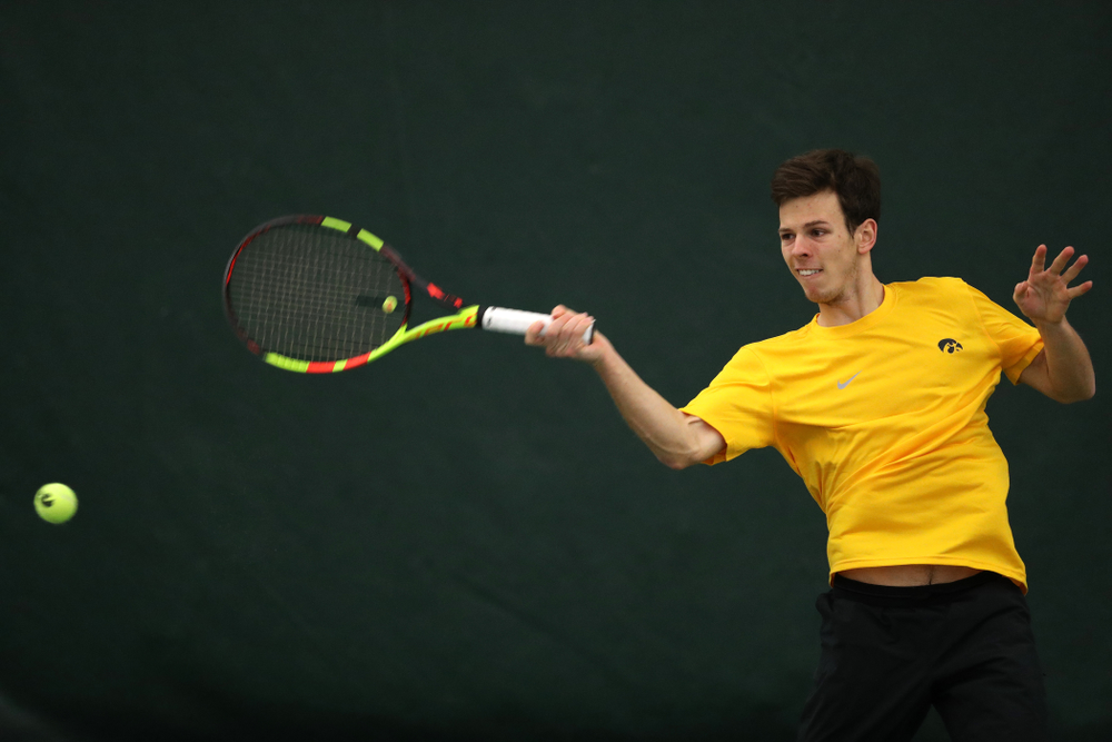 Piotr Smietana against the Butler Bulldogs Sunday, January 27, 2019 at the Hawkeye Tennis and Recreation Complex. (Brian Ray/hawkeyesports.com)