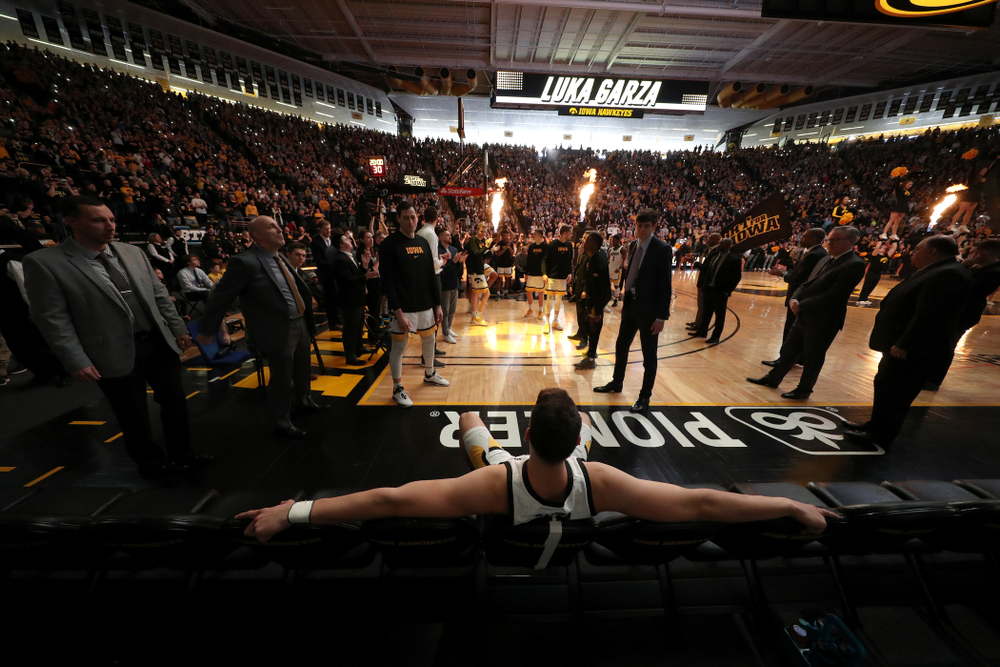 Iowa Hawkeyes forward Luka Garza (55) waits to be introduced before their game against Penn State Saturday, February 29, 2020 at Carver-Hawkeye Arena. (Brian Ray/hawkeyesports.com)