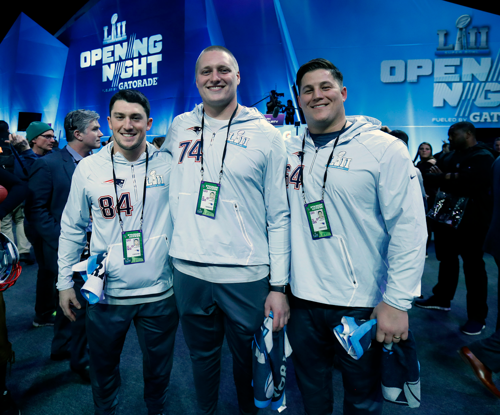 Riley McCarron, Cole Croston, James Ferentz of the New England Patriots