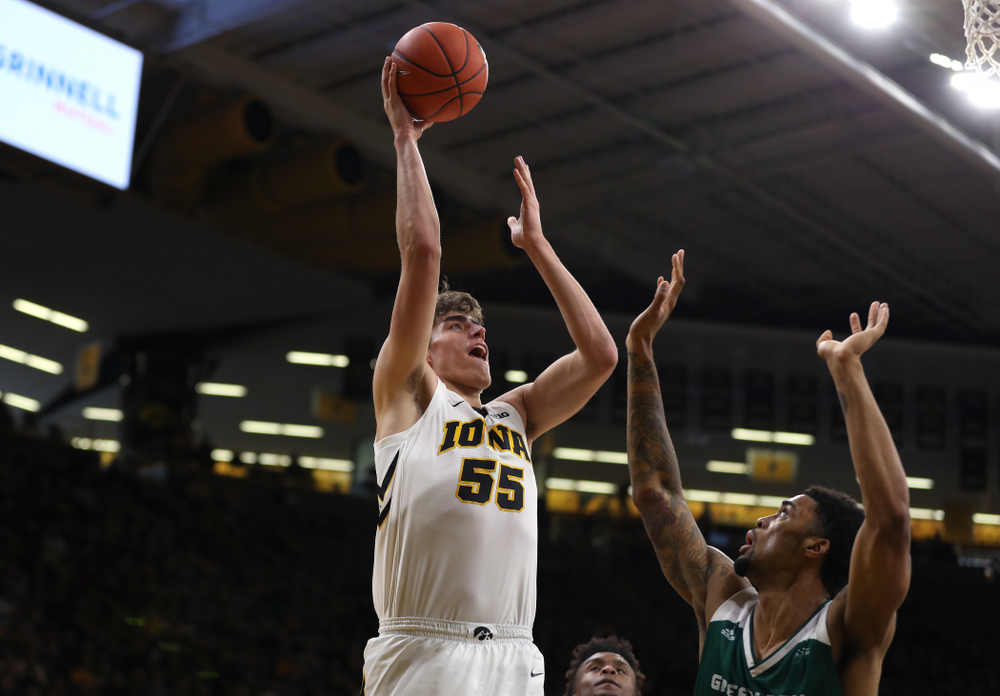 Iowa Hawkeyes forward Luka Garza (55) against UW Green Bay Sunday, November 11, 2018 at Carver-Hawkeye Arena. (Brian Ray/hawkeyesports.com)