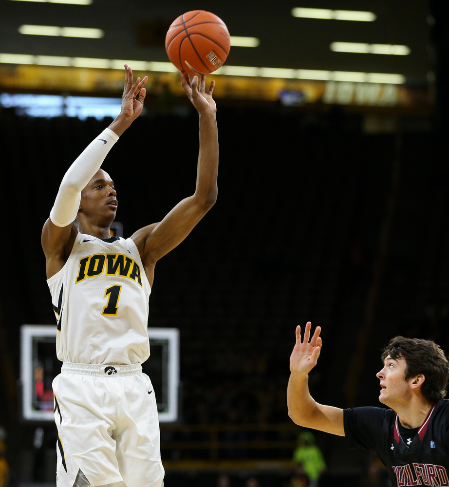 Iowa Hawkeyes guard Maishe Dailey (1) puts up a 3-pointer during a game against Guilford College at Carver-Hawkeye Arena on November 4, 2018. (Tork Mason/hawkeyesports.com)