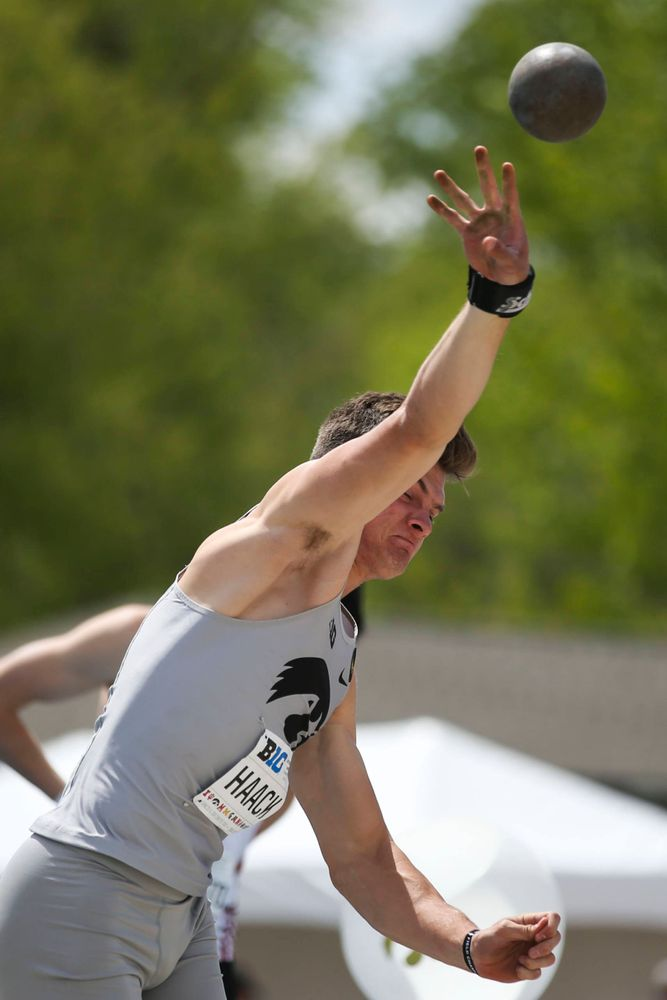 Iowa's Peyton Haack during men's shot put at Big Ten Outdoor Track and Field Championships at Francis X. Cretzmeyer Track on Friday, May 10, 2019. (Lily Smith/hawkeyesports.com)