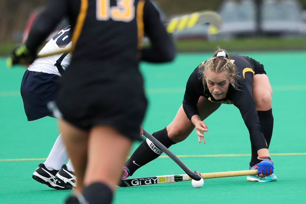 Iowa Hawkeyes midfielder Katie Birch (11) blocks a pass during a game against No. 6 Penn State at Grant Field on October 12, 2018. (Tork Mason/hawkeyesports.com)