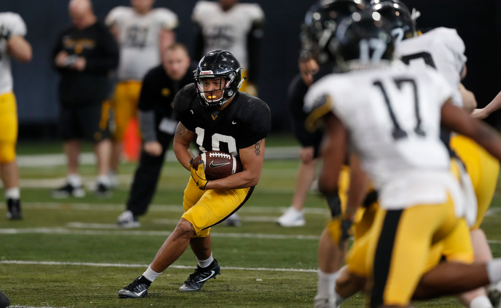 Iowa Hawkeyes defensive back Camron Harrell (10) during spring practice Wednesday, March 28, 2018 at the Hansen Football Performance Center.  (Brian Ray/hawkeyesports.com)