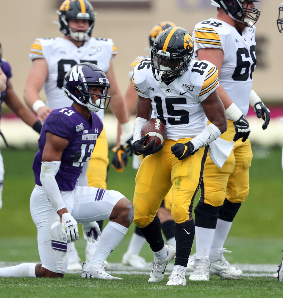 Iowa Hawkeyes running back Tyler Goodson (15) against the Northwestern Wildcats Saturday, October 26, 2019 at Ryan Field in Evanston, Ill. (Brian Ray/hawkeyesports.com)
