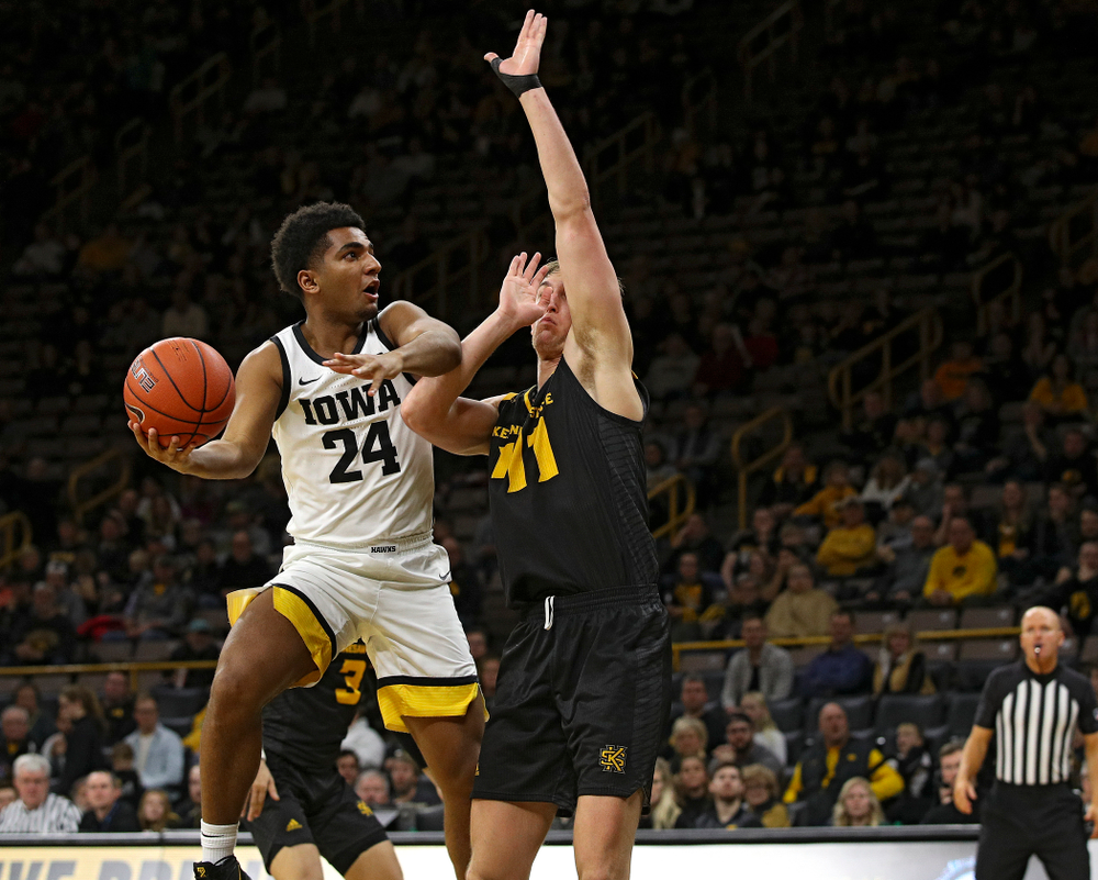 Iowa Hawkeyes guard Nicolas Hobbs (24) puts up a shot during the second half of their their game at Carver-Hawkeye Arena in Iowa City on Sunday, December 29, 2019. (Stephen Mally/hawkeyesports.com)