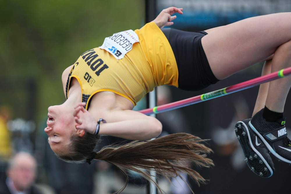 Iowa's Kelli DiGeorge during women's long jump at Big Ten Outdoor Track and Field Championships at Francis X. Cretzmeyer Track on Sunday, May 12, 2019. (Lily Smith/hawkeyesports.com)