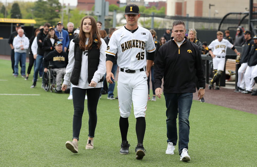 Iowa Hawkeyes Kyle Shimp (45) during senior day festivities before their game against Michigan State Sunday, May 12, 2019 at Duane Banks Field. (Brian Ray/hawkeyesports.com)