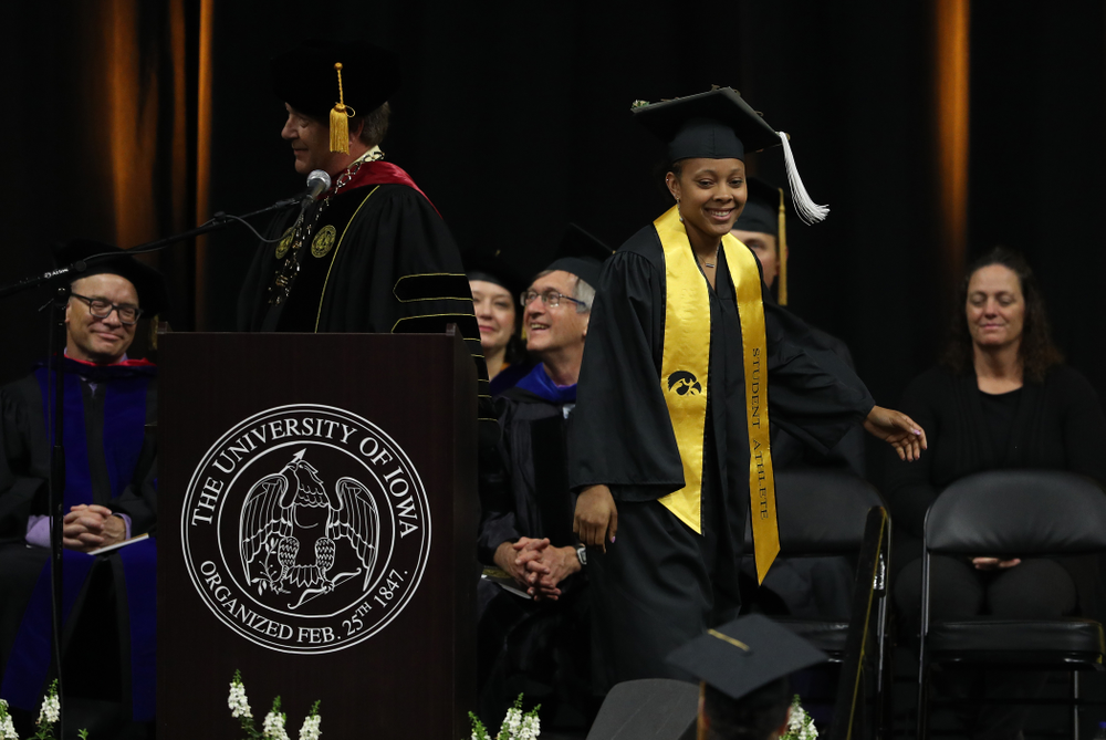 Iowa WomenÕs BasketballÕs Tania Davis during the College of Liberal Arts and Sciences spring commencement Saturday, May 11, 2019 at Carver-Hawkeye Arena. (Brian Ray/hawkeyesports.com)